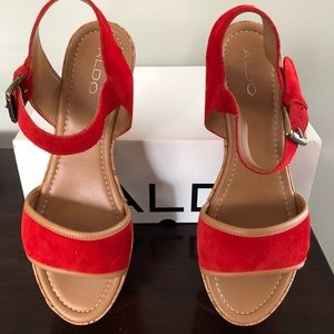Red Suede Searcey Sandals. Worn in New Condition.